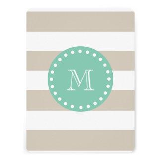Beige Stripes Pattern Mint Green Monogram Custom Announcement