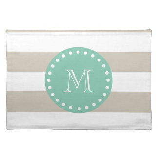 Beige Stripes Pattern, Mint Green Monogram Place Mat