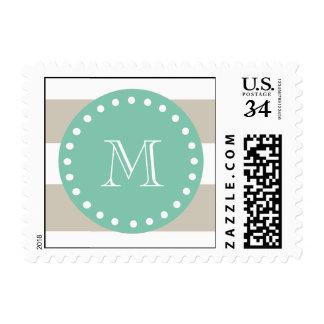 Beige Stripes Pattern, Mint Green Monogram Postage Stamp
