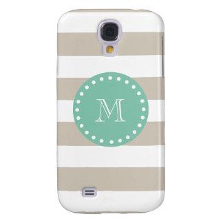 Beige Stripes Pattern, Mint Green Monogram Samsung S4 Case