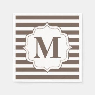 Beige Stripes Personalized Monogram Napkins Disposable Napkin