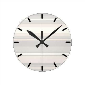 Beige stripes round clock