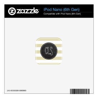 Beige Stripes; Striped; Retro Chalkboard look Skin For The iPod Nano 6G