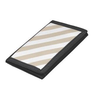 Beige Stripes Trifold Wallet