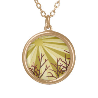 Beige Sun Round Pendant Necklace