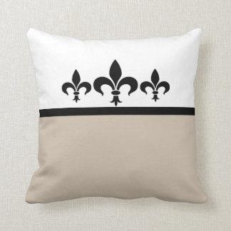 Beige Swanky Fleur De Lis Pillow