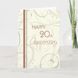 Beige Swirls Happy 20th Wedding Anniversary Card