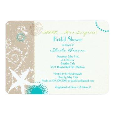 Beach Themed Beige   Tan   Aqua Beach Bridal Shower Card