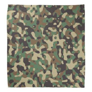 Beige, Tan Brown, Green, Gray Woodland Camouflage Bandana