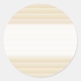 Beige Tan Color Stripe Pattern. Classic Round Sticker