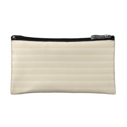 Beige Tan Color Stripe Pattern. Cosmetic Bag