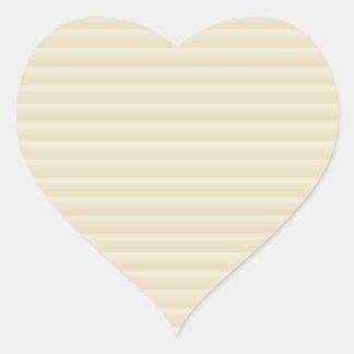 Beige Tan Color Stripe Pattern. Heart Sticker
