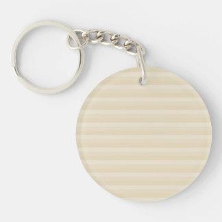Beige Tan Color Stripe Pattern. Keychain
