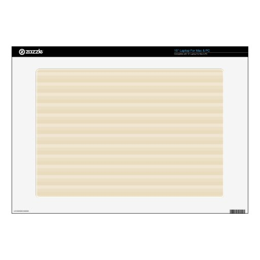 "Beige Tan Color Stripe Pattern. Decals For 15"" Laptops"