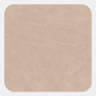 Beige Tan Leather Texture Square Sticker