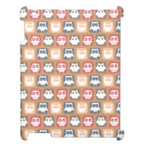 Beige Tan Owl Pattern iPad Cover