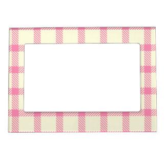 Beige tartan with pink stripes frame magnet
