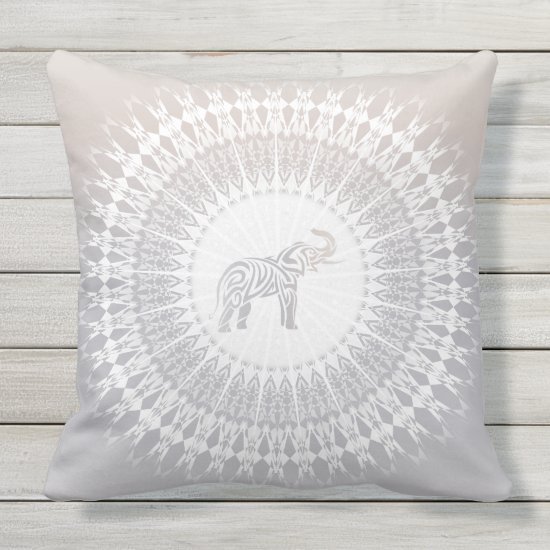 Beige Taupe Elephant Mandala Throw Pillow