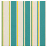 [ Thumbnail: Beige, Teal, and Yellow Lines Pattern Fabric ]