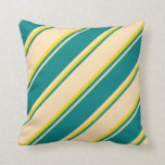 [ Thumbnail: Beige, Teal, and Yellow Lines Pattern Throw Pillow ]