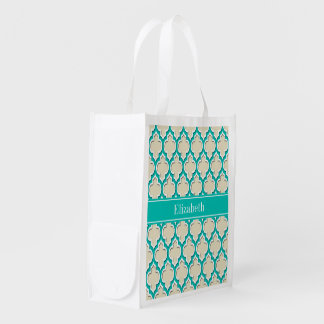 Beige Teal Wht Moroccan #4DS Teal Name Monogram Reusable Grocery Bags