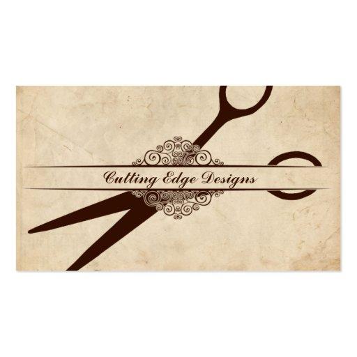 Beige Textured Paper Scissors Hair Stylist Shears Business