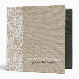 Beige Tones Burlap Linen Look & White Lace Binders