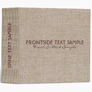 Beige Tones Linen Burlap Fabric Look 2 Binder