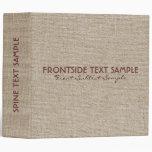 Beige Tones Linen Burlap Fabric Look 2 Binders