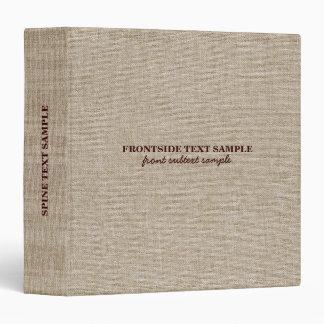 Beige Tones Linen Burlap Fabric Look 3 Vinyl Binder