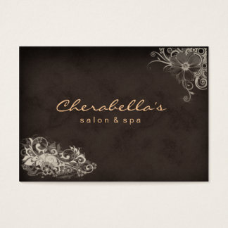 Beige Trendy Salon Spa Floral Appointment Card