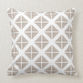 Beige Trendy Triangle Pattern Throw Pillow