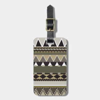 Beige Tribal Inspired Luggage Tag