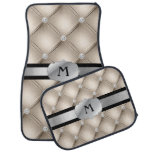 Beige Tufted Personalized Monogram Car Mats