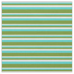 [ Thumbnail: Beige, Turquoise & Green Lined/Striped Pattern Fabric ]