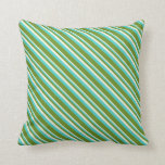 [ Thumbnail: Beige, Turquoise & Green Lined/Striped Pattern Throw Pillow ]
