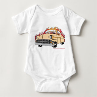 Beige Two Tone '54 Chevy in Flames Baby's Shirts
