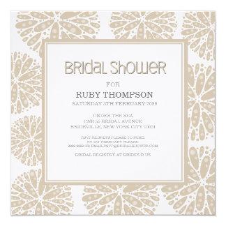 BEIGE Under the Sea Coral Modern BRIDAL SHOWER 5.25x5.25 Square Paper Invitation Card