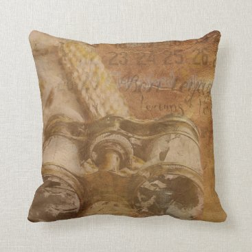 Beach Themed Beige Vintage Bon Voyage Decorative Pillow