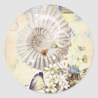 beige vintage butterfly seashell French botanical Classic Round Sticker