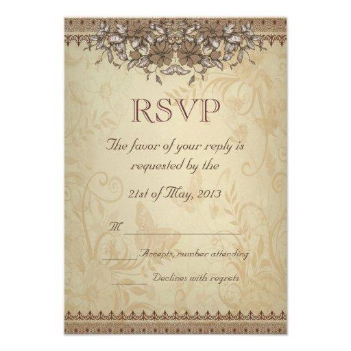 Beige Vintage Lace Wedding RSVP 35 X 5 Invitation Card