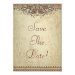 Beige Vintage Lace Wedding Save The Date Card