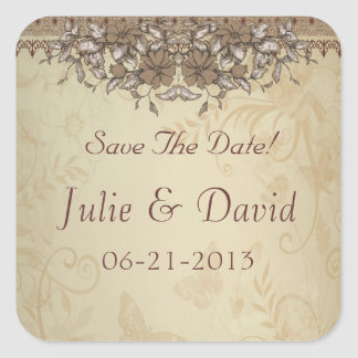 Beige Vintage Lace Wedding Save The Date Square Sticker