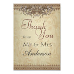 Beige Vintage Lace Wedding Thank You Card