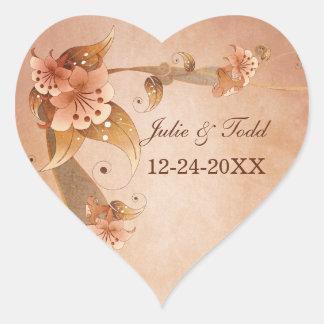Beige Vintage Lilies Wedding Save The Date Heart Sticker