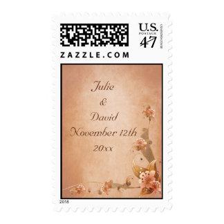 Beige Vintage Lilies Wedding Save The Date Stamp