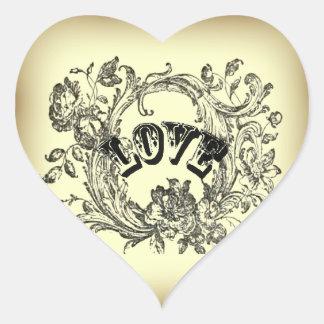 Beige Vintage Love Victorian Style Stickers