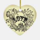 Beige Vintage Tattoo Love Paris Fashion Double-Sided Heart Ceramic Christmas Ornament