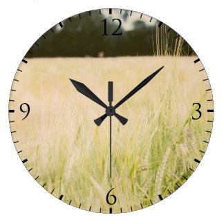 Beige Wheat Field Closeup, Nature Photograph Large Clock