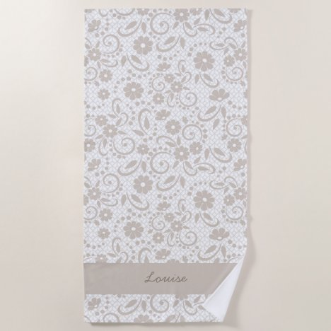 Beige whimsical daisy flower garden beach towel